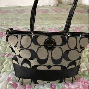 Coach Gray & Black Tote, EUC!